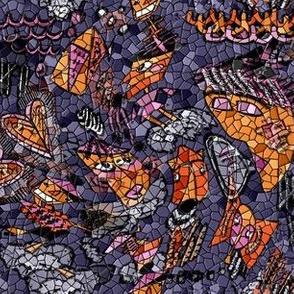 hexagon mosaic abstract doodle geometric, purple lavender violet aubergine orange