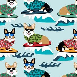 corgis surfing fabric tropical summer surf fabric