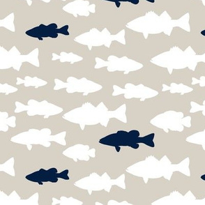 fish || navy on beige