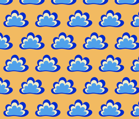 Happy Clouds on Saffron fabric by vanillabeandesigns on Spoonflower - custom fabric