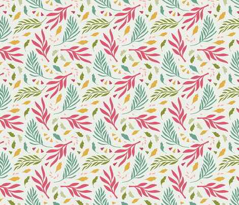 Tropical Day Leaves Pink fabric by deniseanne on Spoonflower - custom fabric
