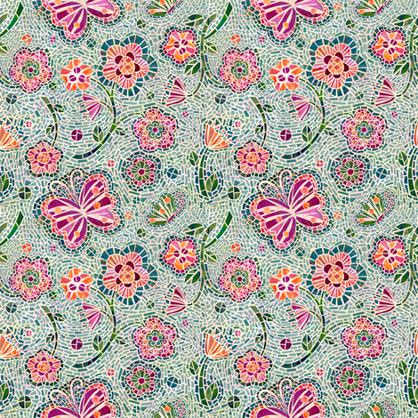 Blossoms and Butterflies Mosaic (small size) fabric by sarah_treu on Spoonflower - custom fabric