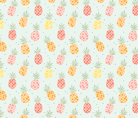 Colorful Pineapples - Blue fabric by sugarfresh on Spoonflower - custom fabric
