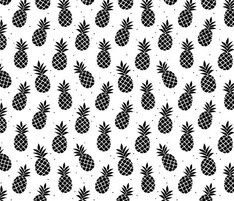 Black and White Pineapples fabric by sugarfresh on Spoonflower - custom fabric