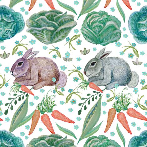 Garden bunny, baby rabbit, rabbit and cabbage, rabbit and carrot, nursery fabric by magentarosedesigns on Spoonflower - custom fabric