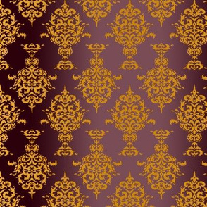 Damask Gold on Burgundy