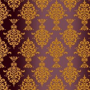 Damask Gold on Burgundy