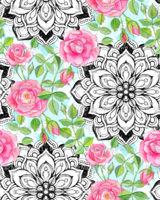 Pink Roses and Mandalas on Sky Blue Lace