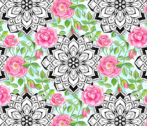Pink Roses and Mandalas on Sky Blue Lace fabric by micklyn on Spoonflower - custom fabric