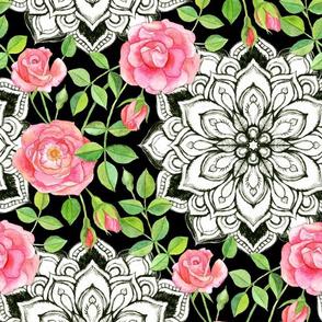 Peach Pink Roses and Mandalas on Black
