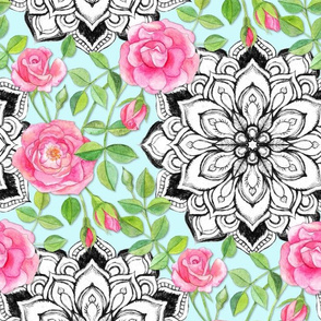 Pink Roses and Mandalas on Sky Blue