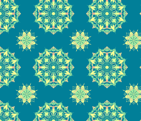 Mandala - Turquoise, Yellow, Coral and Mint on Blue fabric by crowlands on Spoonflower - custom fabric