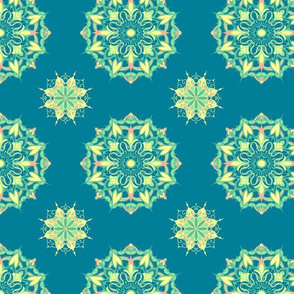Mandala - Turquoise, Yellow, Coral and Mint on Blue