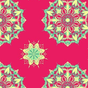 Mandala - Turquoise, Mint, Coral and Yellow on Hot Pink