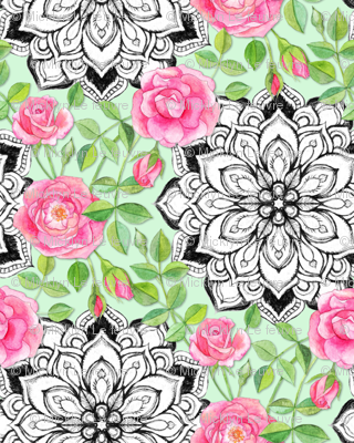 Pink Roses and Mandalas on Mint Green
