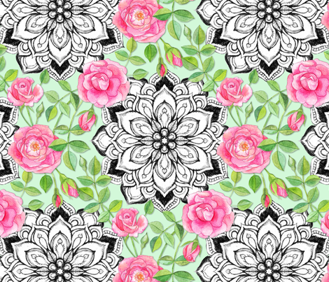 Pink Roses and Mandalas on Mint Green fabric by micklyn on Spoonflower - custom fabric