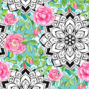 Pink Roses and Mandalas on Teal Lace