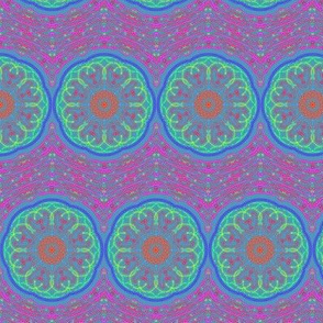 Bohemian Gypsy Wheels on Pink Lacy Chevrons