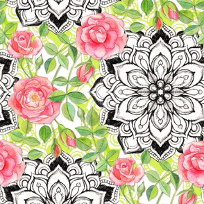 Peach Roses and Mandalas on Lime Green Lace