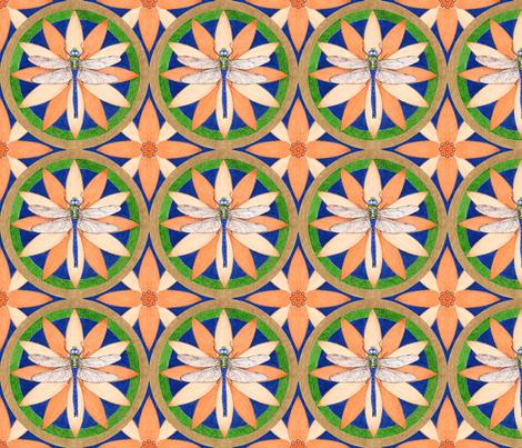 dragonfly mandala fabric by acornmoon on Spoonflower - custom fabric