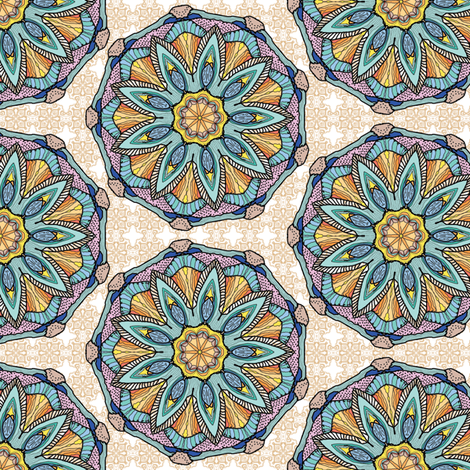 Mandala feathers fabric by palifino on Spoonflower - custom fabric