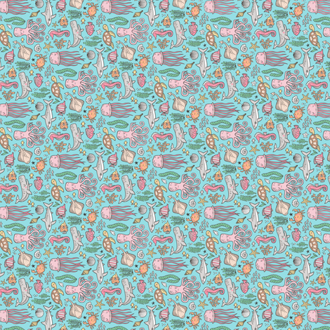 Ocean Marine Sea Life Doodle with Shark, Whale, Octopus, Yellyfish, Seaturtle on Blue Tiny Small Rotated fabric by caja_design on Spoonflower - custom fabric