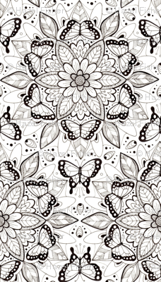 Butterfly Mandala - black and white