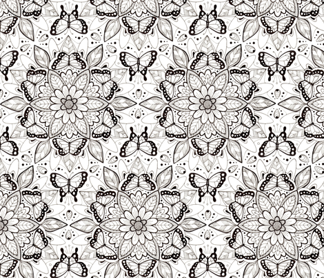 Butterfly Mandala - black and white fabric by hazel_fisher_creations on Spoonflower - custom fabric