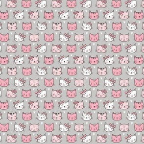 Pink Cat Cats  Faces with Bows and Hearts on Grey Tiny Small