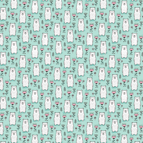 Bear with Flowers Woodland on Mint Green Tiny Small fabric by caja_design on Spoonflower - custom fabric