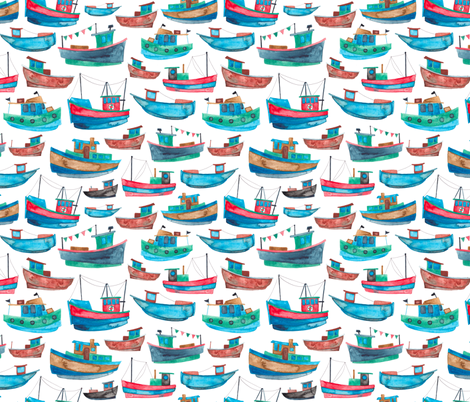 Red and Blue Fishing Boats fabric by elena_o'neill_illustration_ on Spoonflower - custom fabric