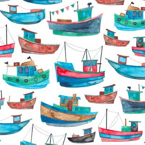Red and Blue Fishing Boats