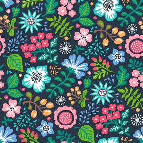 Bohemian Botanical Flowers Floral on Navy Blue Large Size