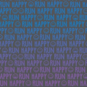 run happy faces blue and purple on charcoal
