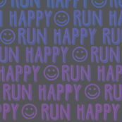 run happy faces - blue and purple on charcoal