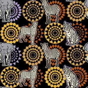 Wild Safari Animal Sunset Mandalas