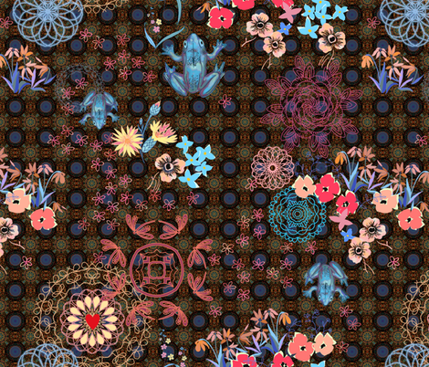 peaceful garden with mandalas fabric by designed_by_debby on Spoonflower - custom fabric