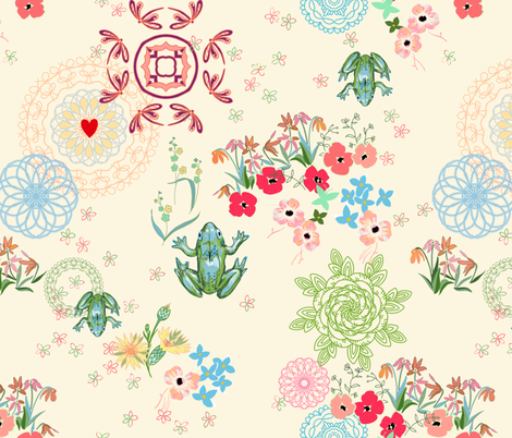 peaceful garden with mandalas -ivory fabric by designed_by_debby on Spoonflower - custom fabric