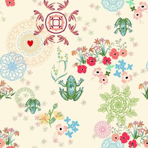 peaceful garden with mandalas -ivory
