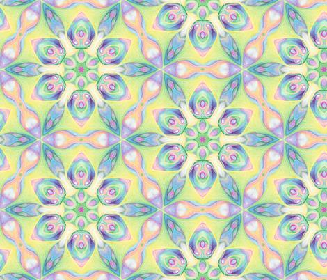 Six petalled flower hexagon fabric by fulgorine on Spoonflower - custom fabric