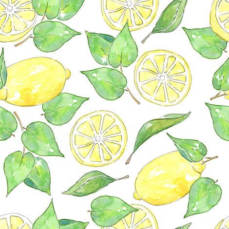 Citrus + Lemon + Yellow + Slices + Whole Fruit + Leaves fabric by paigemeredith on Spoonflower - custom fabric