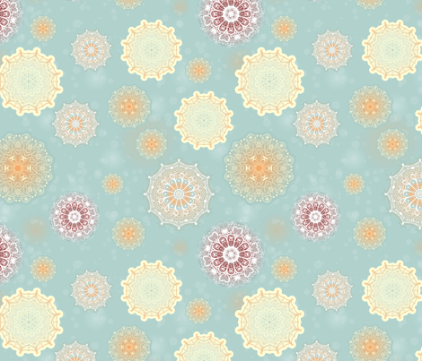 Mandala Moons Seamless Repeating Pattern on Light Blue fabric by paula_ohreen_designs on Spoonflower - custom fabric