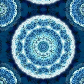 Mandala in blue watercolor