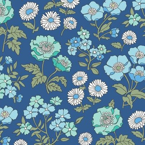 Floral Flowers Vintage  Garden Blue Mint Green On Navy Blue