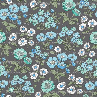 Floral Flowers Vintage Garden Blue Mint Green On Dark Grey