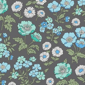 Floral Flowers Vintage Garden Blue Mint Green On Dark Grey