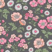 Floral Flowers Vintage Garden Pink Peach on Dark Grey