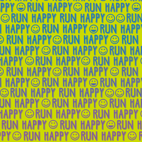 run happy faces blue and purple on chartreuse wallpaper clothcraft