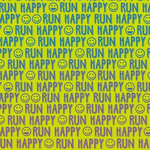 run happy faces blue and purple on chartreuse