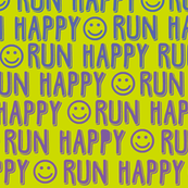 run happy faces - blue and purple on chartreuse